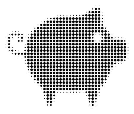 Pixelated black piggy icon. Vector halftone mosaic of piggy icon composed from round dots. Ilustração