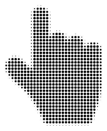 Pixel black pointer finger icon. Vector halftone collage of pointer finger icon organized of circle pixels. Archivio Fotografico - 100758534