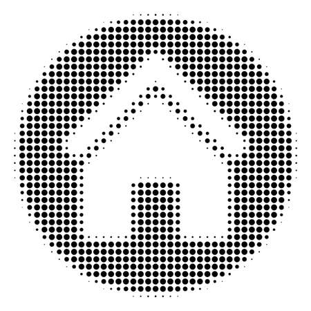 Dot black real estate icon. Vector halftone concept of real estate icon organized with round items. Ilustrace