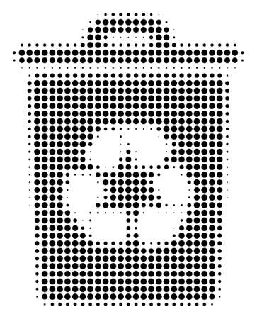 Dotted black recycle bin icon. Vector halftone pattern of recycle bin icon formed from round elements.