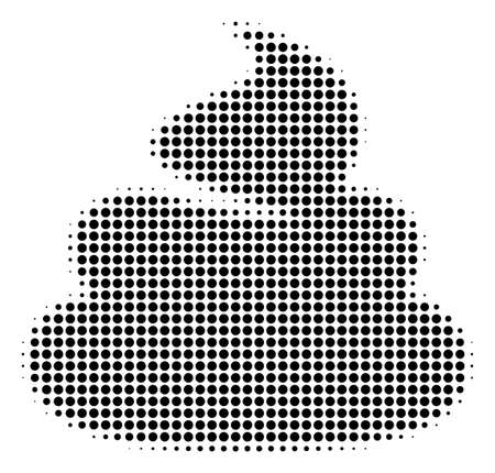 Pixelated black shit icon. Vector halftone collage of shit icon created from sphere elements.