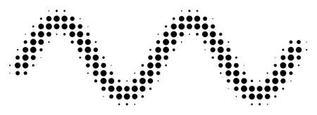 Dot black sinusoid wave icon. Vector halftone concept of sinusoid wave symbol composed of circle pixels.