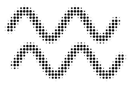 Dot black sinusoid waves icon. Vector halftone collage of sinusoid waves symbol created of round elements. Stock Illustratie
