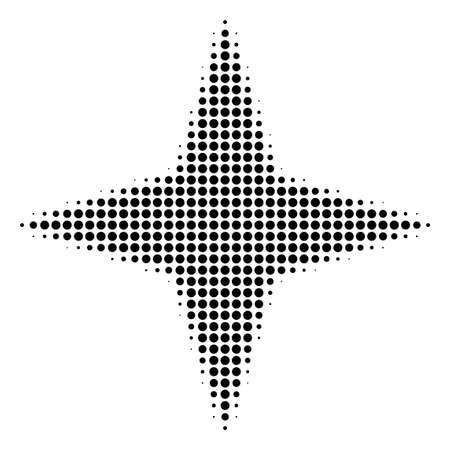 Pixel black space star icon. Vector halftone mosaic of space star pictogram made with round items. Ilustração