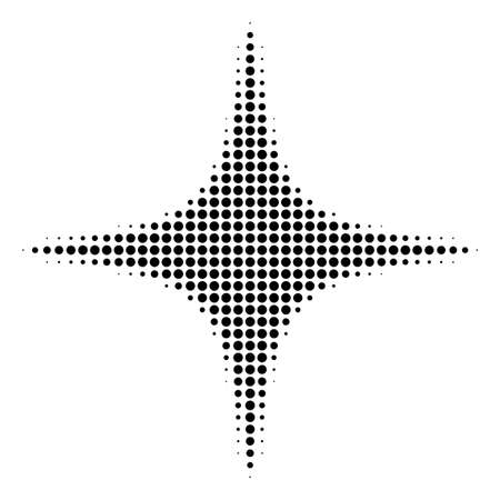 Pixelated black space star icon. Vector halftone composition of space star pictogram composed of sphere elements.