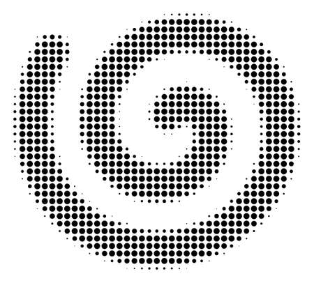 Dot black spiral icon. Vector halftone composition of spiral symbol composed with spheric elements. Banco de Imagens - 100869222