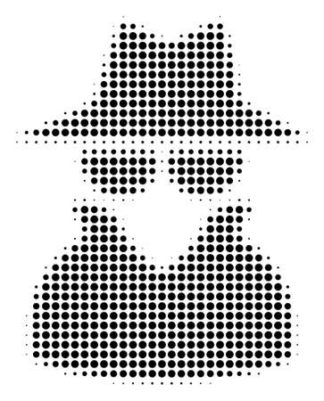 Dotted black spy icon. Vector halftone collage of spy icon made from spheric dots.