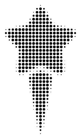 Pixel black starting star icon. Vector halftone mosaic of starting star pictogram designed with spheric pixels.