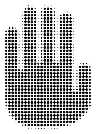 Dotted black stop hand icon. Vector halftone mosaic of stop hand pictogram constructed from spheric elements.