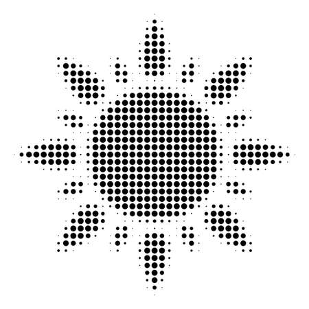 Pixel black sun icon. Vector halftone composition of sun icon created from spheric items. Illustration