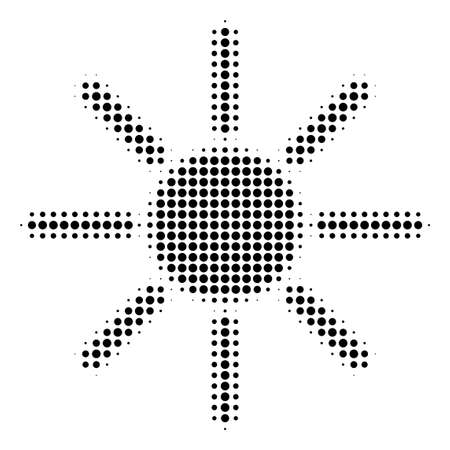 Dotted black sun icon. Vector halftone pattern of sun symbol formed from circle pixels.