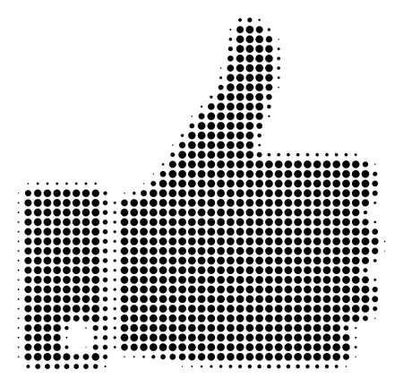 Dotted black thumb up icon. Vector halftone mosaic of thumb up symbol composed with circle dots. Vecteurs