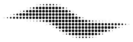 Pixel black wave shape icon. Vector halftone mosaic of wave shape pictogram done of circle items.