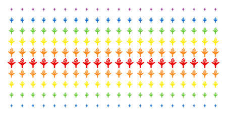 Air Crash icon rainbow colored halftone pattern. Vector pictograms arranged into halftone array with vertical spectral gradient. Designed for backgrounds, covers, templates and abstraction concepts. Illustration