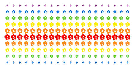 Amoeba icon spectrum halftone pattern. Vector items arranged into halftone matrix with vertical rainbow colors gradient. Constructed for backgrounds, covers, templates and abstract concepts. Çizim