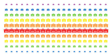 Analysis icon spectrum halftone pattern. Vector pictograms organized into halftone matrix with vertical rainbow colors gradient. Designed for backgrounds, covers, templates and abstract effects. Ilustração