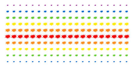 Boom Bang icon spectrum halftone pattern. Vector items arranged into halftone array with vertical rainbow colors gradient. Designed for backgrounds, covers, templates and abstraction concepts.