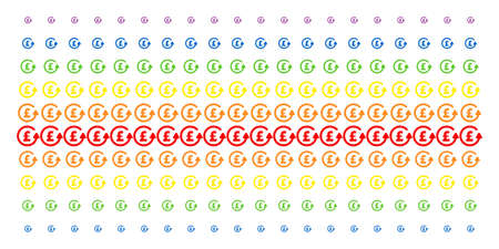 Charge back Pound icon spectral halftone pattern. Vector symbols arranged into halftone matrix with vertical rainbow colors gradient. Constructed for backgrounds, covers.