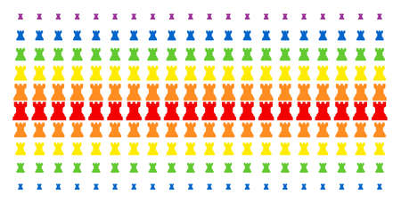 Chess Tower icon spectrum halftone pattern. Vector symbols arranged into halftone matrix with vertical rainbow colors gradient. Constructed for backgrounds, covers. Illustration