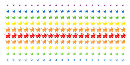 Baby Carriage icon spectrum halftone pattern. Vector symbols organized into halftone matrix with vertical rainbow colors gradient. Designed for backgrounds, covers, templates and abstraction effects.