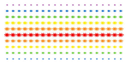 Bacteria icon rainbow colored halftone pattern. Vector symbols organized into halftone matrix with vertical rainbow colors gradient. Designed for backgrounds, covers.