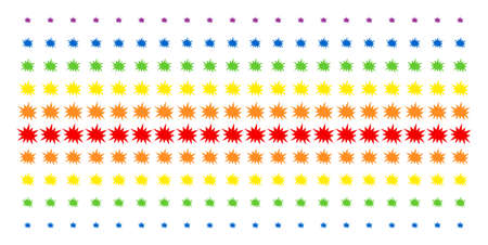Bang icon spectral halftone pattern. Vector shapes arranged into halftone array with vertical rainbow colors gradient. Constructed for backgrounds, covers, templates and abstract concepts.