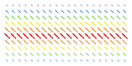 Brush icon rainbow colored halftone pattern. Vector symbols organized into halftone array with vertical spectrum gradient. Constructed for backgrounds, covers, templates and abstraction compositions.