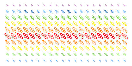 Break Chain Link icon spectrum halftone pattern. Vector symbols arranged into halftone array with vertical rainbow colors gradient. Designed for backgrounds, covers, Illustration
