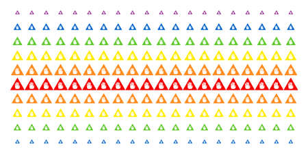 Caution icon rainbow colored halftone pattern. Vector objects arranged into halftone matrix with vertical spectrum gradient. Designed for backgrounds, covers, templates and abstract compositions.