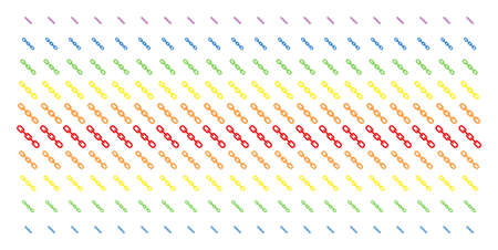 Chain icon spectrum halftone pattern. Vector pictograms organized into halftone grid with vertical rainbow colors gradient. Designed for backgrounds, covers, templates and abstract concepts. Illustration