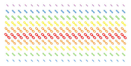 Chain icon rainbow colored halftone pattern. Vector objects arranged into halftone matrix with vertical spectral gradient. Designed for backgrounds, covers, templates and abstraction effects.