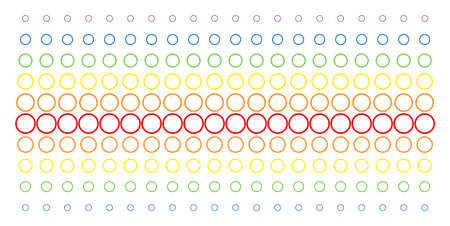 Circle Bubble icon rainbow colored halftone pattern. Vector pictograms organized into halftone array with vertical spectrum gradient. Designed for backgrounds, covers, Illustration