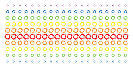 Cogwheel icon spectrum halftone pattern. Vector pictograms arranged into halftone array with vertical spectrum gradient. Designed for backgrounds, covers, templates and abstraction compositions.