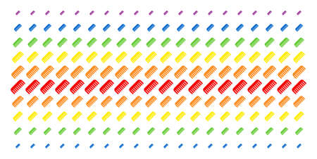 Comb icon rainbow colored halftone pattern. Vector shapes arranged into halftone matrix with vertical spectral gradient. Constructed for backgrounds, covers, templates and abstract concepts. Illustration