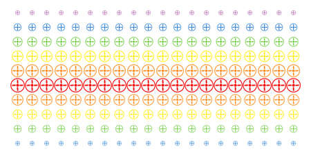 Drone Screw icon rainbow colored halftone pattern. Vector symbols organized into halftone grid with vertical spectrum gradient. Constructed for backgrounds, covers,