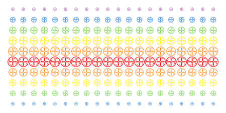 Drone Screw Rotation icon spectrum halftone pattern. Vector shapes arranged into halftone matrix with vertical rainbow colors gradient. Designed for backgrounds, covers, Illustration