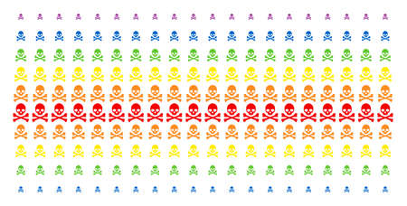 Death Skull icon rainbow colored halftone pattern. Vector symbols arranged into halftone matrix with vertical spectral gradient. Designed for backgrounds, covers,