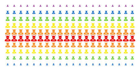 Devil icon spectrum halftone pattern. Vector shapes organized into halftone array with vertical rainbow colors gradient. Designed for backgrounds, covers, templates and abstract effects.