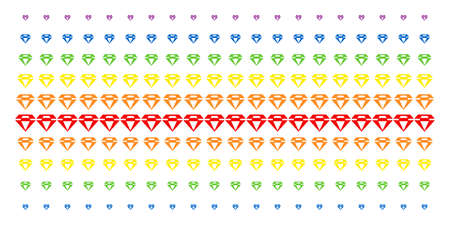 Diamond icon rainbow colored halftone pattern. Vector symbols arranged into halftone matrix with vertical rainbow colors gradient. Constructed for backgrounds, covers, Illustration