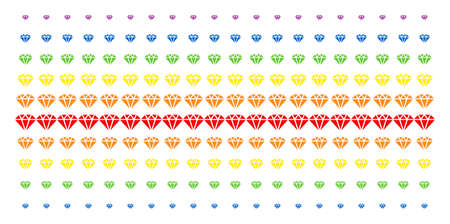 Diamond icon rainbow colored halftone pattern. Vector objects arranged into halftone array with vertical spectrum gradient. Constructed for backgrounds, covers, templates and abstract effects. Illustration