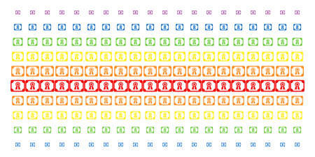 Diploma icon rainbow colored halftone pattern. Vector symbols organized into halftone matrix with vertical spectrum gradient. Designed for backgrounds, covers, templates and abstract concepts.
