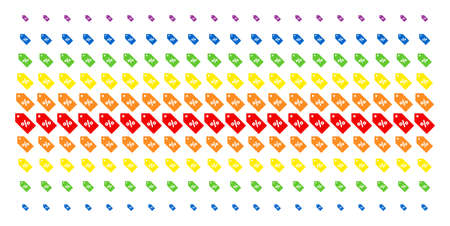 Discount Tag icon spectrum halftone pattern. Vector items arranged into halftone array with vertical rainbow colors gradient. Designed for backgrounds, covers, templates and abstract concepts.