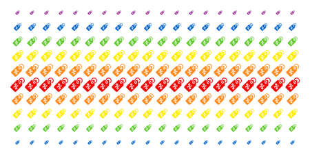Discount Tag icon rainbow colored halftone pattern. Vector pictograms arranged into halftone grid with vertical spectrum gradient. Designed for backgrounds, covers, templates and abstract effects.