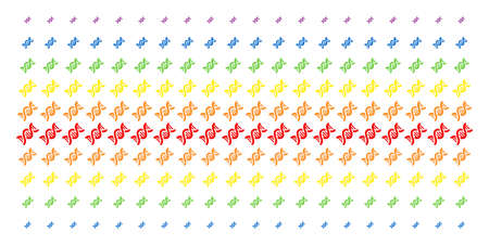 DNA Spiral icon spectral halftone pattern. Vector pictograms arranged into halftone grid with vertical rainbow colors gradient. Constructed for backgrounds, covers, templates and abstraction concepts.