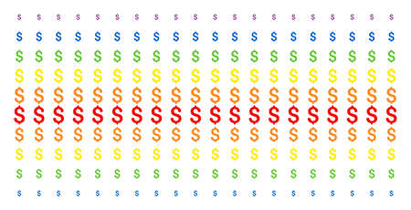 Dollar icon rainbow colored halftone pattern. Vector shapes organized into halftone array with vertical rainbow colors gradient. Constructed for backgrounds, covers, templates and abstract effects.