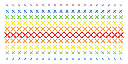 Crossing Swords icon spectrum halftone pattern. Vector shapes organized into halftone matrix with vertical rainbow colors gradient. Designed for backgrounds, covers, templates and abstract effects.