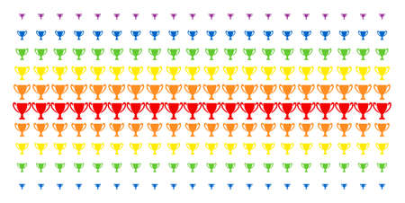 Cup icon spectrum halftone pattern. Vector symbols arranged into halftone matrix with vertical rainbow colors gradient. Constructed for backgrounds, covers, templates and abstract concepts.