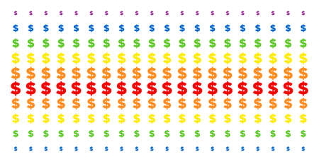 Dollar icon spectral halftone pattern. Vector pictograms organized into halftone matrix with vertical rainbow colors gradient. Designed for backgrounds, covers, templates and abstract compositions. Illustration