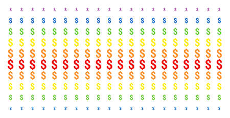 Dollar icon rainbow colored halftone pattern. Vector pictograms organized into halftone matrix with vertical spectrum gradient. Designed for backgrounds, covers,