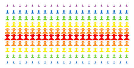 Farmer icon spectrum halftone pattern. Vector pictograms organized into halftone array with vertical rainbow colors gradient. Constructed for backgrounds, covers, templates and abstract concepts. Illustration